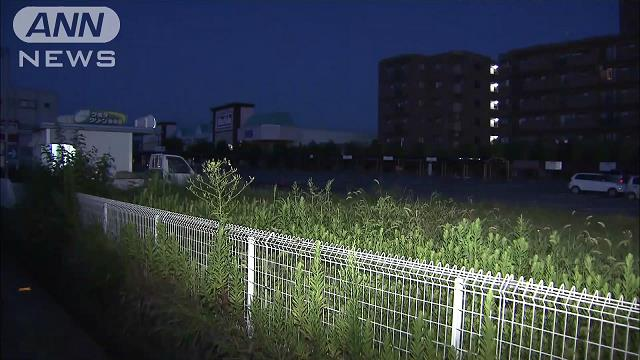 A view of a supermarket parking lot where a newborn baby was found Mie Prefecture on Saturday (TV Asahi)