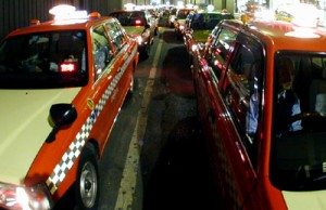 Taxis lined up in Chuo Ward