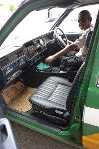 Interior of Nissan Cedric taxi in Fiji