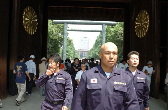 Shinichi Kamijo of right-wing group Gishin Gokoku-kai at Yasukuni Shrine in Tokyo's Chiyoda Ward