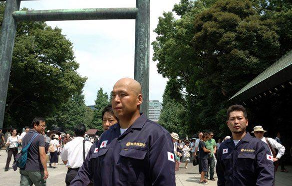 Shinichi Kamijo of right-wing group Gishin Gokoku-kai at Yasukuni Shrine in Tokyo's Chiyoda Ward