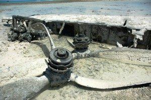 Remains of a B-24 Liberator on the flats of the lagoon outside Betio