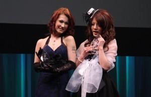 Maria Ozawa (Livedoor) and Risa Tsukino (Nikkan Gendai) win media awards at the Sky PerfecTV! Adult Broadcasting Awards 2010 that took place last night at a theater in Tokyo's Shibuya district