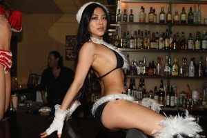 Santa's helper on Christmas Day at Red Shoes in Aoyama