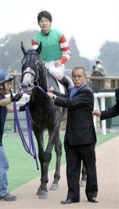 Horse trainer Michifumi Kono with jockey Kosei Miura in 2009