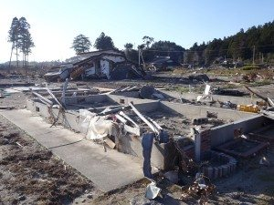 Tsunami devastation within the 20-kilometer evacuation zone in place around the Fukushima Daiichi nuclear power plant.