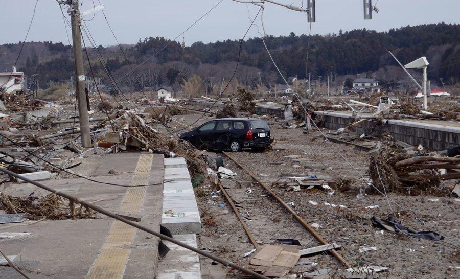 Tsunami devastation within the 20-kilometer evacuation zone in place around the Fukushima Daiichi nuclear power plant.