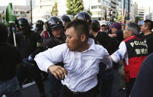 Right-wing protestors in Jimbocho