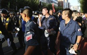 Members of a right-wing group protest in Jimbocho