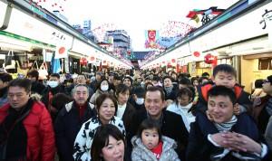 The Nakamise shopping arcade