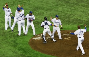 Europe celebrates after the final out in the 9th inning on Wednesday night
