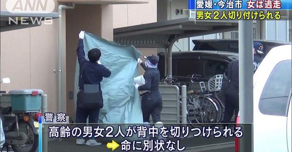 A woman stabbed two elderly persons at a residence in Imabari City (TV Asahi)