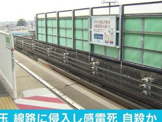 A man touched a 600-volt line near the tracks of Hanuki Station on Saturday