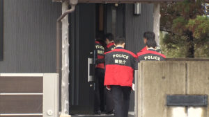 Police searched the office of the Aota-kai, a second-tier gang of the Sumiyoshi-kai, in Sanmu City, Chiba Prefecture on Wednesday