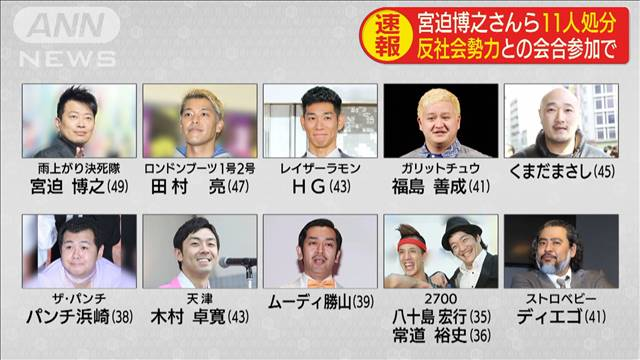 Yoshimoto Kogyo announced the suspension of 11 comedians on Monday