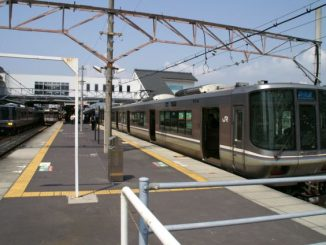 A 17-year-old girl existed a train at Banshu-Ako Station (above) and reported to police that she had been molested by a sergeant inside a carriage