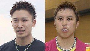Kento Momota (L) and Kenichi Tago
