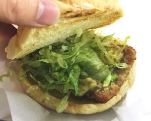 The Dome Melon Pork Sandwich includes mustard and shredded lettuce