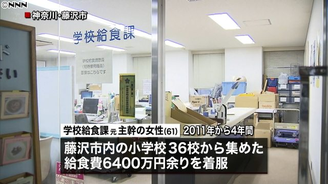 The chief examiner of Fujisawa City's school lunch division embezzled some 65 million yen from lunch money funds for dozenselementary schools (Nippon News Network)