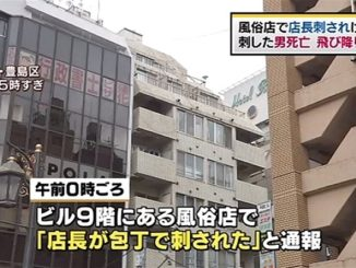 A man accused of stabbing the manager of a sex parlor leaped to his death from a building in Ikebukuro early Sunday