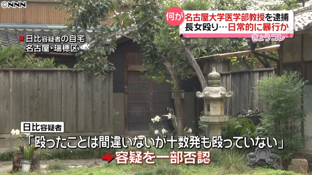 a professor at the Nagoya University Graduate School of Medicine has been accused of physically abusing his daughter, 23, at the residence they share in Nagoya