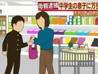 A woman allegedly made her son shoplift supermarket goods in Mito City two years ago