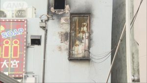 A door to be used as an emergency exit for the second floor did not have stairs on the exterior of the building (TV Asahi)