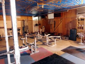 Gym equipment inside the space to use as a makeshift workout room in Nara City