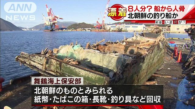 A wooden ship carrying 8 corpses was found off the coast of Maizuru City on Wednesday