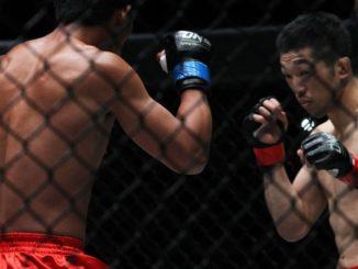 Koji Oishi (right) knocked out Honorio Banario in the third round