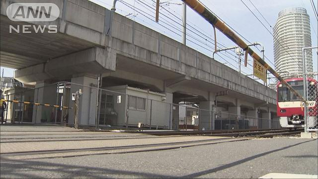 An elderly woman washit and killed by a train after tripping at a crossing in Sumida Ward on Monday