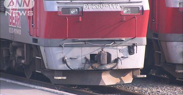 A train struck three run-away calves in Hokkaido (TV Asahi)