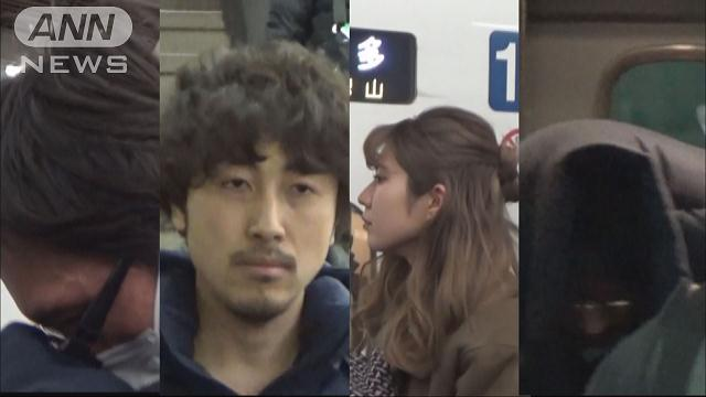 Kazuaki Nakayama (second from left) and Sakiko Kameda (second from right) are among the suspects accused of swindling 400 persons