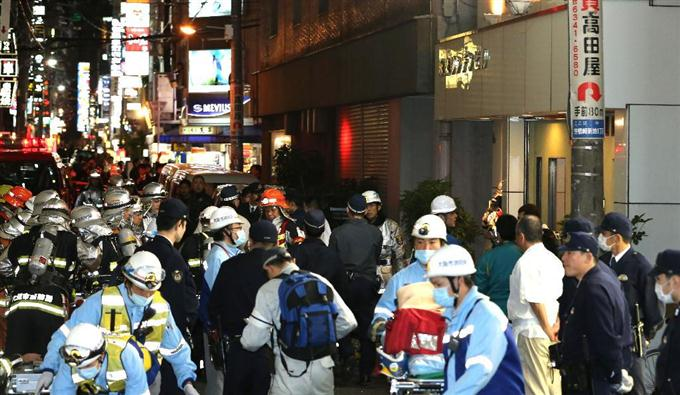 The scene following the blast in Kita Shinchi (Sankei Shimbun)