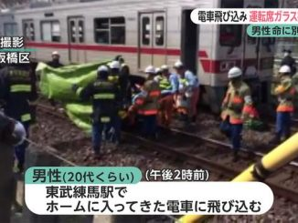 A man survived a collision with a Tobu Tojo Line train at Tobu Nerima Station on Thursday
