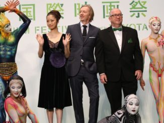 "Aya Ueto, Andrew Adamson, Jacques Methe and cast from ""Cirque du Soleil: Worlds Away"" at the Tokyo International Film Festival opening on Saturday"