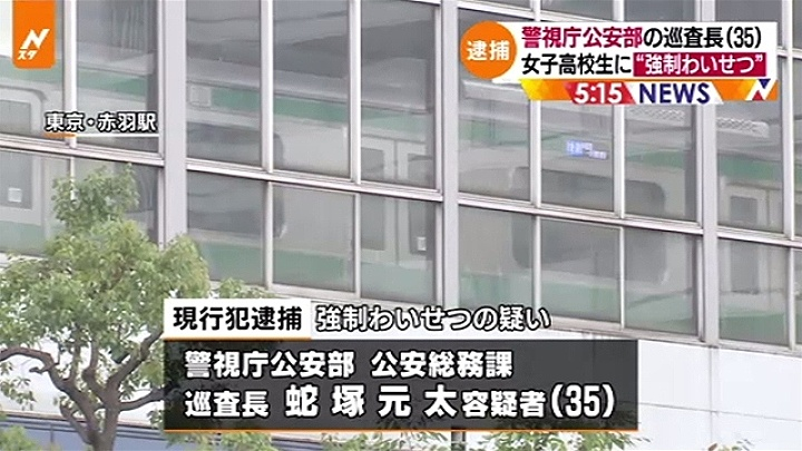 Tokyo police office groped student