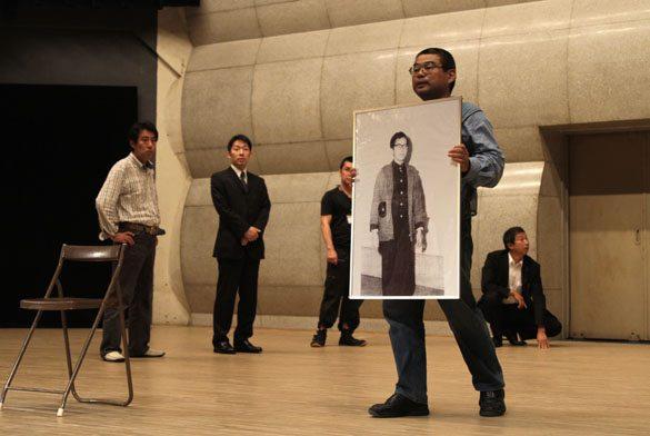Photo of Otoya Yamaguchi placed on the stage at the Hibiya Public Hall on Tuesday